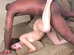 Brunette in a white bikini sucks and fucks a big black cock