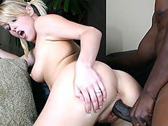 Huge black cock gets buried deep inside twat