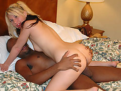 Blonde rides huge cock then licks it clean